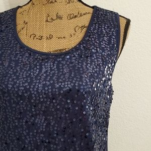George • navy blue sequin tank, lined 💎 - Med.